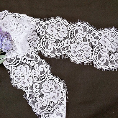 White Eyelash Lace Embroidery?Floral Fabric Scalloped Trim 3 Meters
