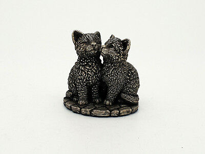 Rare 2 Kittens Cats Filled Solid Silver Figurine  Hm 1995