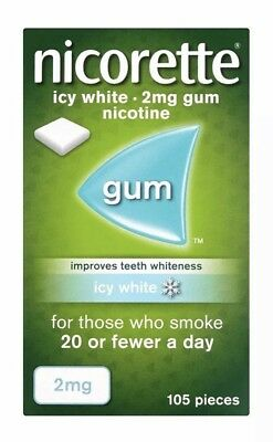 Nicorette Nicotine Chewing Gum 2mg. Icy White Flavour. 420 Pieces (4x105 gums)
