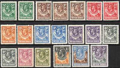Northern Rhodesia 1925 KGV set of mint stamps value to 5 Shillings  Mint Hinged