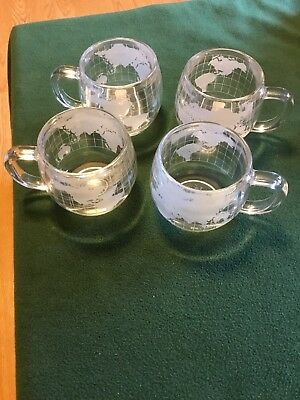 Set of 4 Vintage NESTLE Nescafe World Globe Frosted Coffee Mugs Cups W/Tags Mint