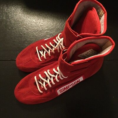 Vintage Mens SIMPSON HIGH TOP RACING SHOES Driver RED Suede SIZE 7 Made In USA