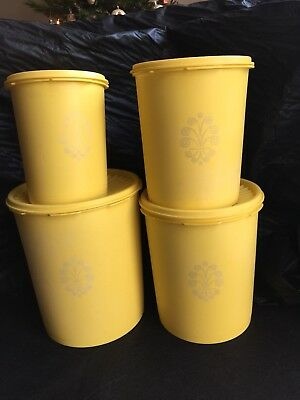 Vintage Tupperware Servalier Canisters Set of 4 ~ Yellow
