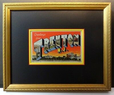 "Framed 1943 Postcard ""Greetings From Trenton NJ"" Large Letter Linen Wood Frame"
