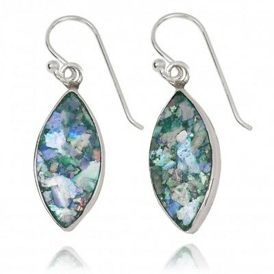 Handmade 925 Sterling Silver Earrings With Ancient Roman Glass Marquise Shape