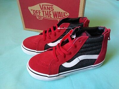 7b226558171 Vans Toddler Red. And blue Classic Zipper Up High Top Sneaker size 10  toddler