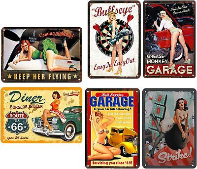 6pcs Vintage Retro Style Calendar Pin-Up Sexy Girls Man Cave Bar Tin Metal Signs