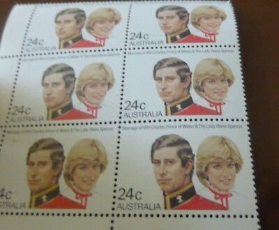 Lady Diana Spence Charles Prince Of Wales 6 x Australia stamps