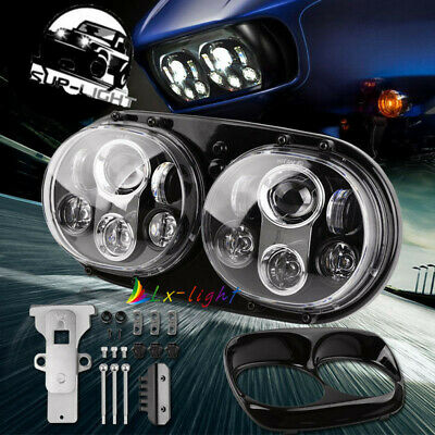 Dual LED Headlights Projector Hi/Lo Beam Assembly For Motorcycle Motorbike