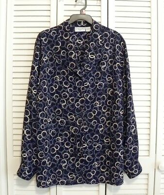 ALFRED DUNNER WOMAN LS Button Blouse Plus Sz 16 Navy Blue Green Purple Circles