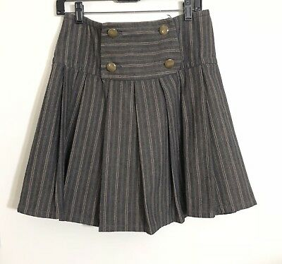Womens Marc By Marc Jacobs Striped Gray Tan Pleated A Line Skirt Size 4