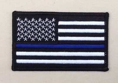 Thin Blue Line American Flag Patch Police SWAT Highway Traffic Iron On