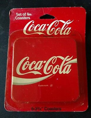 Vintage Coca Cola Plastic/ Cork Coasters, Set Of Six (6)