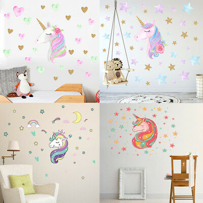 2 PCS UNICORN Wall Decal, Girls Bedroom Home Decor, flower and hair ...