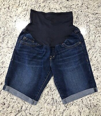 Old Navy Women's Maternity Blue Denim Jean Rolled Leg Shorts Size 4