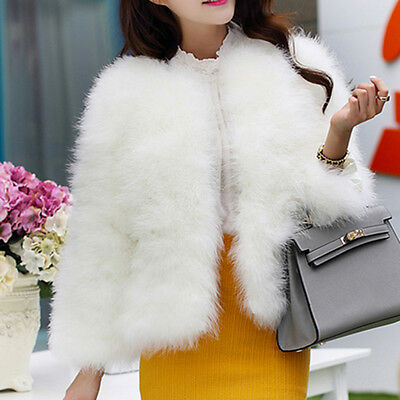 Women's Real Feather Fur Coat Short Thick Winter Jacket Wedding Bridal Outwear