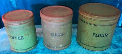RARE c.1900 ANTIQUE SET 3 KITCHEN CANISTERS COFFEE FLOUR SUGAR COUNTRY RUSTIC