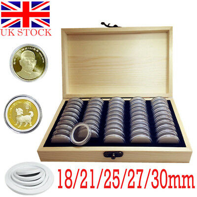 50pcs Wooden Round Coin Case Holder Capsules Storage Container Box Display UK