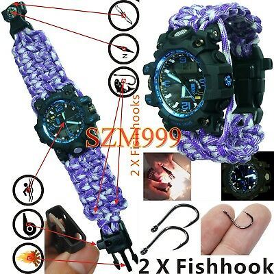 Water Resistant Shockproof Scuba Wrist Watch Analog-Digital Military paracord