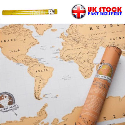 UK Large Size Scratch Off World Map Poster Personalized Travel Vacation Log Gift
