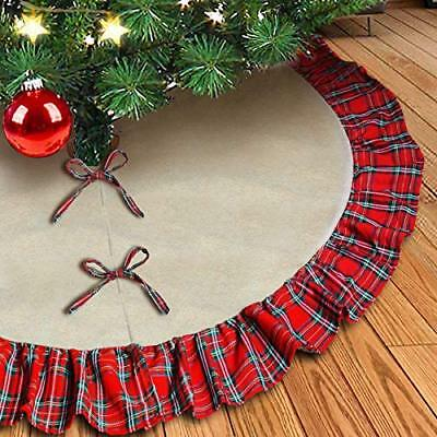 kingleder Natural Burlap Christmas Tree Skirt,48 Inch Large Double Layers Linen