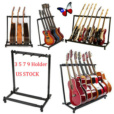 Folding Multiple Guitar/Bass Holder Rack Storage Stand Acoustic Bass 3 5 7 9 US
