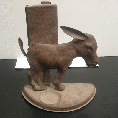 """Antique Cast Iron DONKEY Sculpture/Lawn. Hollow. Larger Size, 9"""" wide x 11"""" tall"""