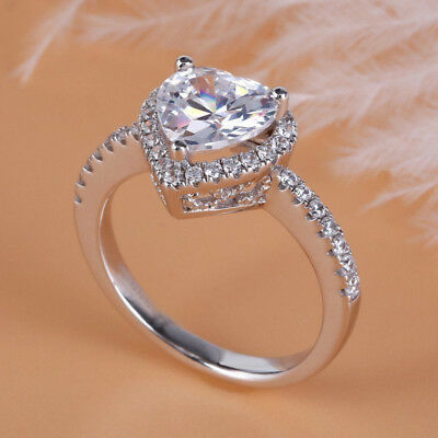 3.10Ct Certified White Heart Cut Diamond Halo Engagement Ring 14K White Gold