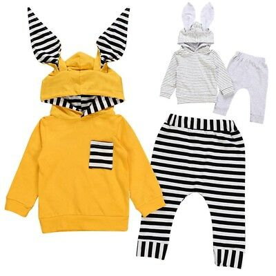 Cute Toddler Infant Baby Girls Hooded Sweatshirt Tops+Pants Outfits Clothes Sets
