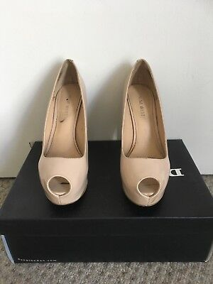 ca94fcbb0c0c Nine West Nude Beige Cream Tan Patent Peep Toe Stilleto Court Shoe Size 3 36
