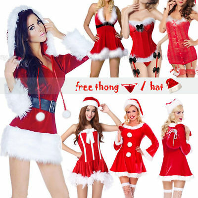 Women Mrs Claus Hooded Santa Costume Adult Outfit Fancy Christmas Dress Cosplay