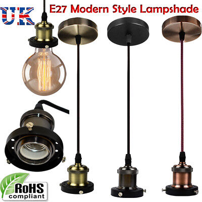 Vintage Ceiling Rose Pendant Fabric Flex  Braided  Lamp Holder Fitting Light Kit