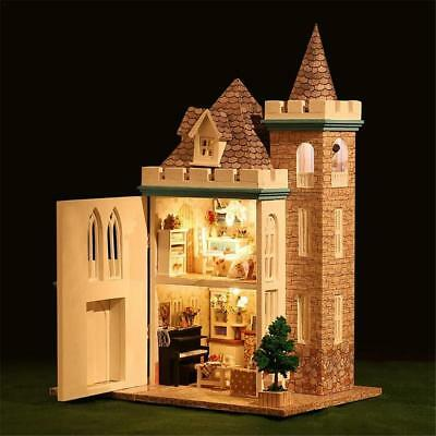 DIY Miniatures Wooden Doll House Moonlight Castle LED Kit Puzzle Toy Xmas Gift