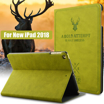 Retro Series Tablet Stand Slim PU Smart Case Cover For iPad 6th Generation 2018
