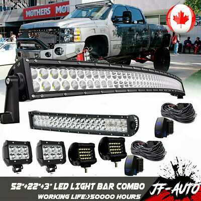 52inch Curved LED Light Bar Combo+32''+4× 4inch Flood Work Lamp Offroad SUV