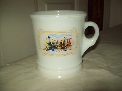Vintage Avon Milk Glass Locomotive Train Shaving Mug Shave Cup
