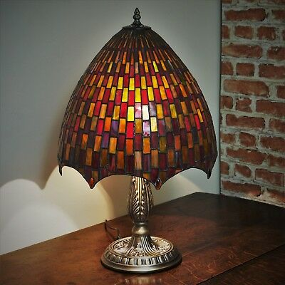 "New LARGE 14""Diameter Tiffany Stained Glass Table Lamp Moroccan Mosaic Hand Made"