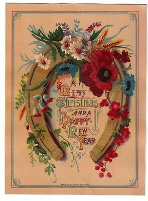 Merry Christmas & Happy New Year Gold Horseshoe David C Cook Vict Card 1880s