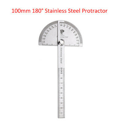 "4"" 180° Stainless Steel Protractor Goniometer Angle Finder Miter Round Gauge New"