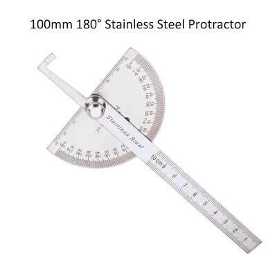 100mm 180° Stainless Steel Protractor Angle Finder Rotary Measuring Ruler Tool