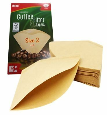 40 X Size 102 1X2 Coffee Filter Paper Cones Unbleached For DeLonghi/Melitta