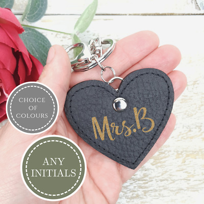 Initial Keyring Letter Love Heart Handmade Genuine Leather Key Holder Bag Charm
