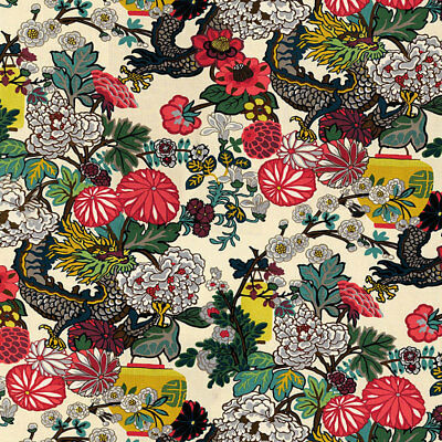 SCHUMACHER CHINOISERIE CHIANG MAI DRAGON FABRIC 100% Linen NEW! Alabaster BTY