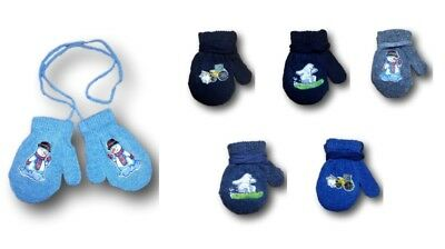 Baby Boys Toddler Autumn Sticker Mittens Gloves With String Size 1-4 Years