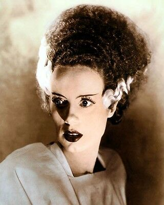 """ELSA LANCHESTER THE BRIDE OF FRANKENSTEIN 1935 8x10"""" HAND COLOR TINTED PHOTO"""