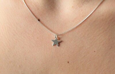 Sterling Silver Star Necklace on Sterling Chain Box Chain - Minimal Jewellery
