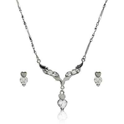 Wedding Jewelry Set White Cubic Zirconia Gemstone Sterling 925 Silver Antique