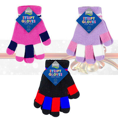 Kids Magic SUPER STRETCH Gloves Winter Warm Knitted Casual Gloves Boys & Girls
