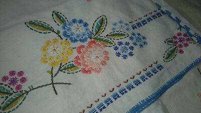 Antique 1930 French linen bed table cloth hand embroidered vintage Exc cond HUGE