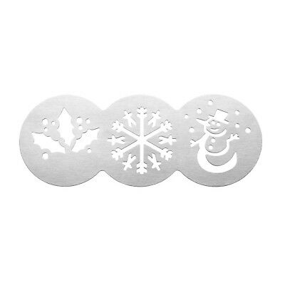 Christmas Cake Stencils CupCake, Coffee Stainless Steel Snowman Holly Snowflake